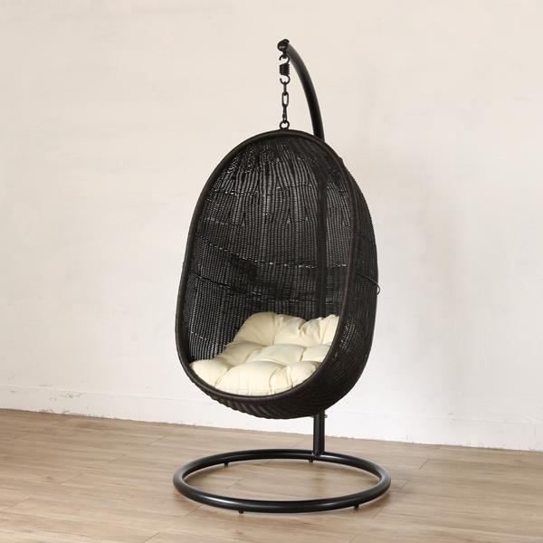 ハンギングチェア スモール 生地:W(ホワイト) ハンモックチェア ソファー 椅子 イス パーソナルチェア 一人掛け 撥水 クッション(代引不可)【送料無料】