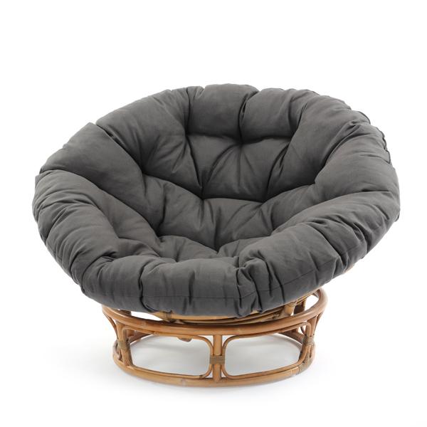 ラタン パパサンチェア パラボラチェア リラックスチェア ラウンジチェア 椅子 いす イス エッグソファー 籐 リネン クッション(代引不可)【送料無料】