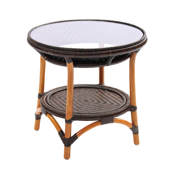 ラタン 手編み ガラステーブル テーブル コーヒーテーブル サイドテーブル 籐 ガラス アジアン(代引不可)【送料無料】