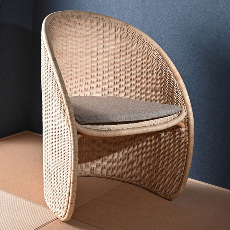 ラタン チェア パーソナルチェア イス 椅子 1人掛け 1P 天然素材 クッション付き ソファ 座椅子(代引不可)【送料無料】