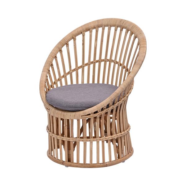 ラタン チェア ライトグレー パーソナルチェア イス 椅子 1人掛け 1P 天然素材 クッション付き ソファ 座椅子(代引不可)【送料無料】