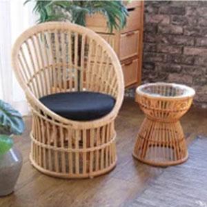 ラタン チェア ブラック パーソナルチェア イス 椅子 1人掛け 1P 天然素材 クッション付き ソファ 座椅子(代引不可)【送料無料】