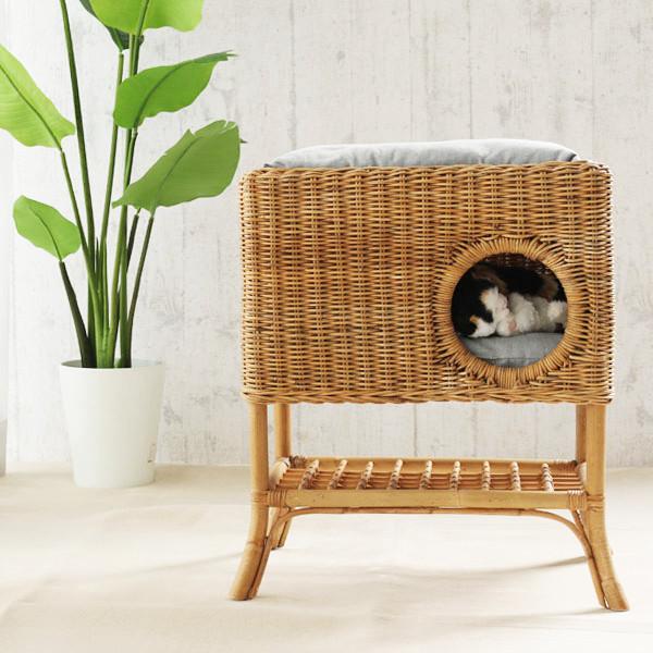 ペット ハウス キャットタワー クッション ラタン 籐 アジアン ナチュラル 北欧 犬 猫(代引不可)【送料無料】