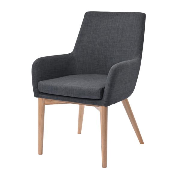ダイニングチェア ダークグレー 食卓イス 腰掛け 椅子 1人掛け 1P 天然素材 インテリア デザイン(代引不可)【送料無料】