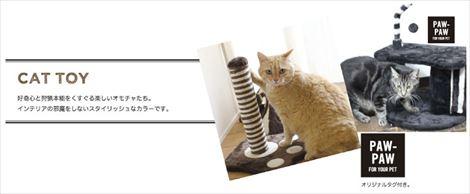 PAW-PAW CAT TREE BLUE キャットツリー 肉球プリント 猫 遊び場 運動遊び 組立式 ブルー(代引不可)
