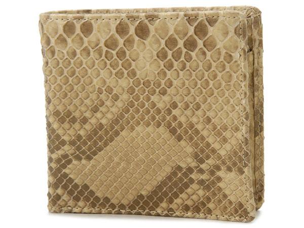 RODANIA ロダニア パイソン ヘビ革 二つ折り財布 ダイヤモンドパイソン ゴールド メンズ 財布【送料無料】