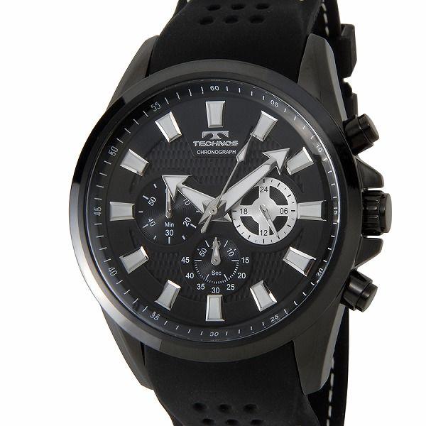 テクノス TECHNOS T6396BB クロノグラフ 24時間計 10気圧防水 ラバーベルト ブラック メンズ 腕時計【送料無料】