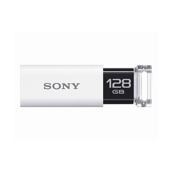 ソニー USB3.0対応 ノックスライド式USBメモリー ポケットビット 128GB ホワイト キャップレス USM128GU W(代引不可)