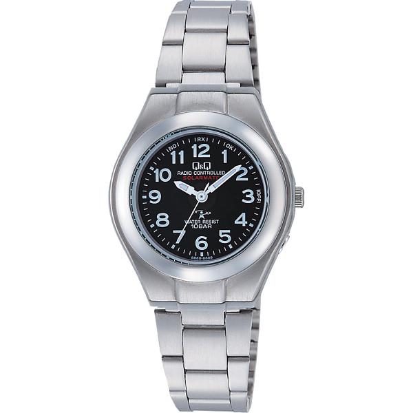 Q Q キューアンドキュー ソーラー電源機能搭載 レディース電波腕時計 ブラック 装身具 婦人装身品 婦人腕時計 HJ01‐205(代引不可)【送料無料】