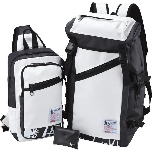 ラーキンス リュック ワンショルダー カードケースセット ホワイト LKPM カバン バッグカジュアル LKPM03LKPM15WH(代引不可)