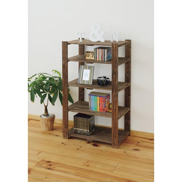 木製ラック5段 ブラウン 木製品 家具 書斎 リビング家具 ラック TNMR-10560BR(代引不可)【送料無料】