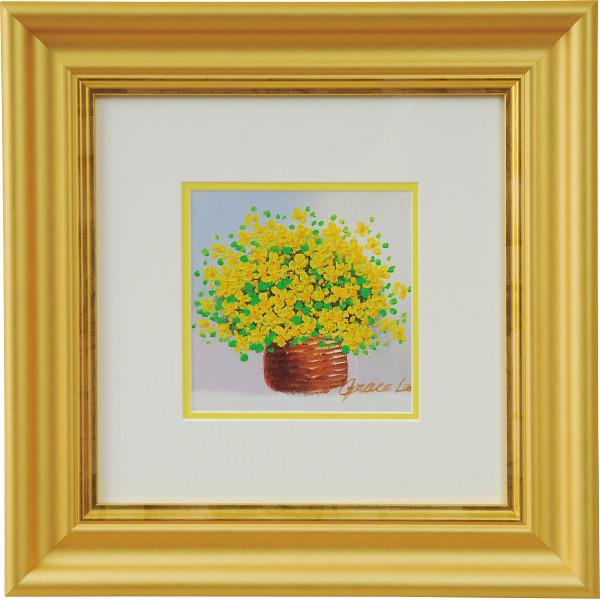 手描き油絵 「黄色のブーケ」 室内装飾品 絵画額 本物油絵 水彩画 N15-407(代引不可)【送料無料】