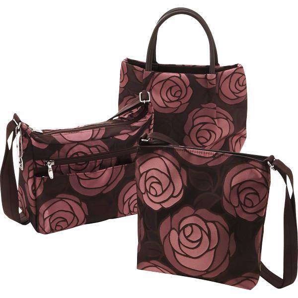 日本製ジャガード お出かけバッグ3点セット ピンク 日本製ジャガード カバン バッグカジュアル ショッピングバッグ LS‐45/75/80(代引不可)【送料無料】