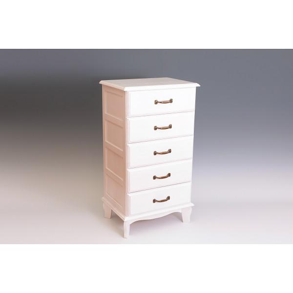 アンティーク風チェスト5段 ホワイト 木製品 家具 タンス チェスト 木製チェスト TNB-405W(代引不可)【送料無料】
