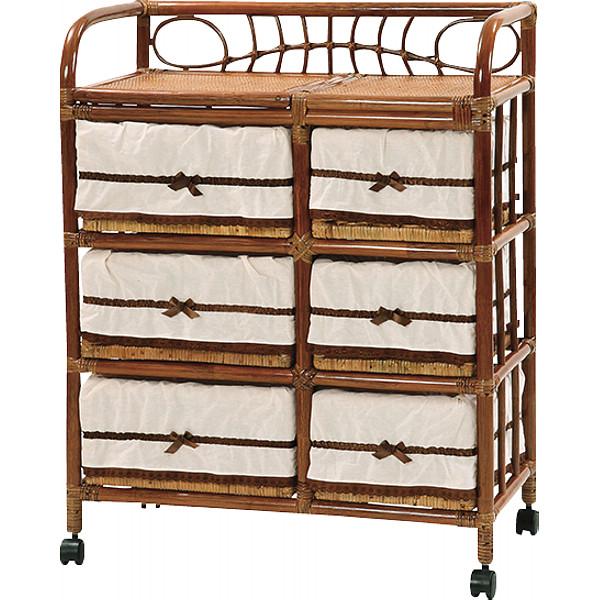 ワイドランドリー3段 木製品 家具 籐家具 ランドリー Y-55-3-HR(代引不可)【送料無料】