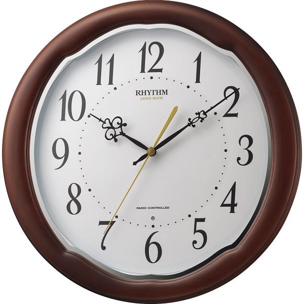 リズム 木枠電波掛時計 室内装飾品 掛け時計 パネル時計 8MY513SR06(代引不可)