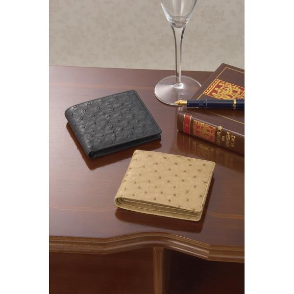 紳士用オーストリッチ財布 ブラック 装身具 財布 札入れ S-NO8250040BK(代引不可)【送料無料】