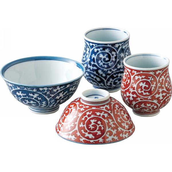 タコ唐草 睦揃 和陶器 和陶茶碗 茶碗 湯呑みセット(代引不可)【送料無料】
