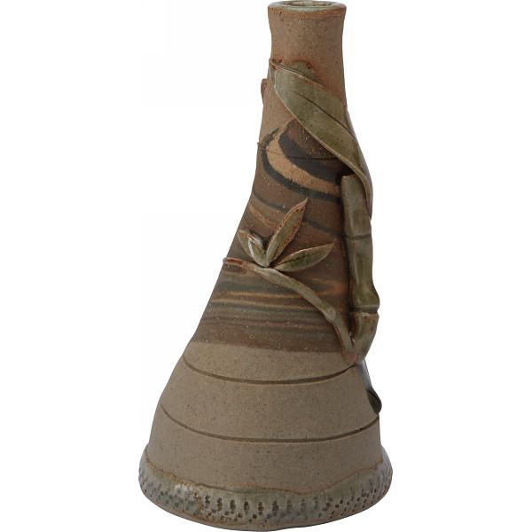 萬古焼 山坂實作 練込竹ぶし一輪ざし 和陶器 花瓶 和陶花瓶 T13‐11(代引不可)【送料無料】