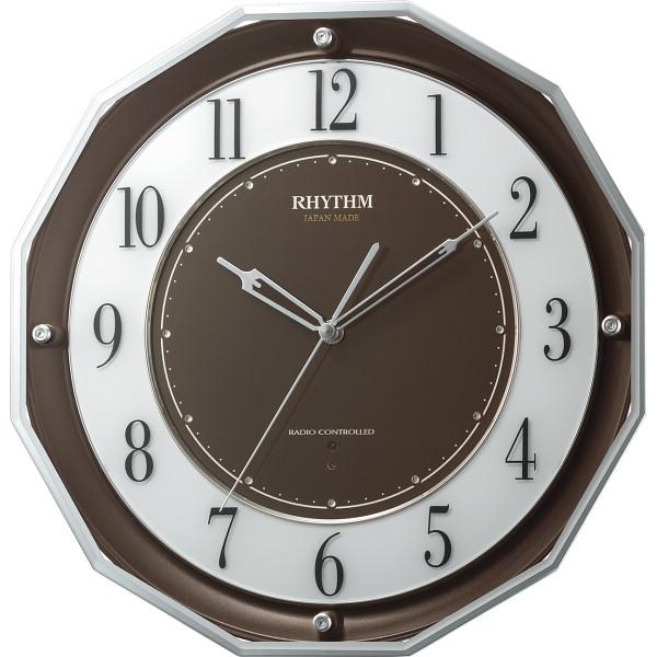 リズム 高感度電波掛時計 ブラウン 室内装飾品 掛け時計 振り子無し丸型時計 4MY846SR06(代引不可)【送料無料】