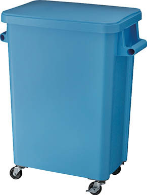 リス 厨房用キャスターペール70L 排水栓付 ブルー GGYK006