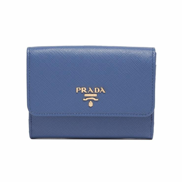 PRADA 折り財布 1MH523QWA Logo Leather Wallet レディース F0013 AZZURRO プラダ【送料無料】