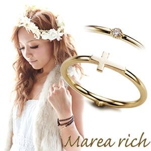 マレアリッチ Marea rich K10 クロスモチーフ・ダイヤ 2WAY ピンキーリング ゴールド×ダイヤモンド 3号 10KJ-18