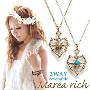 マレア リッチ Hawaiian series K10 ハワイアン ハートモチーフネックレス 2WAY リバーシブル ゴールド×ダイヤモンド/ターコイズ 11KJ-12