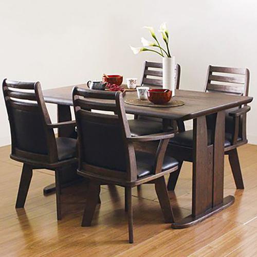 ダイニングテーブル 5点セット ダイニングセット 5点 天然木 コバ 135cm幅/4人掛け用 木製(代引不可)【送料無料】