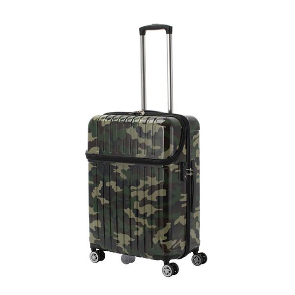 キャリーバッグ Mサイズ 5日間 59L トップオープン ジッパーハード トップス 迷彩 スーツケース 旅行 カバン 大容量(代引不可)【送料無料】
