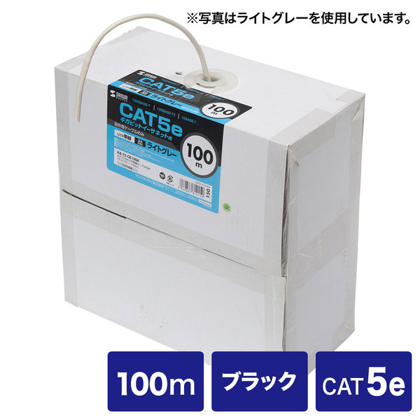 サンワサプライ カテゴリ5eUTP単線ケーブルのみ KB-T5-CB100BKN【送料無料】 (代引不可)