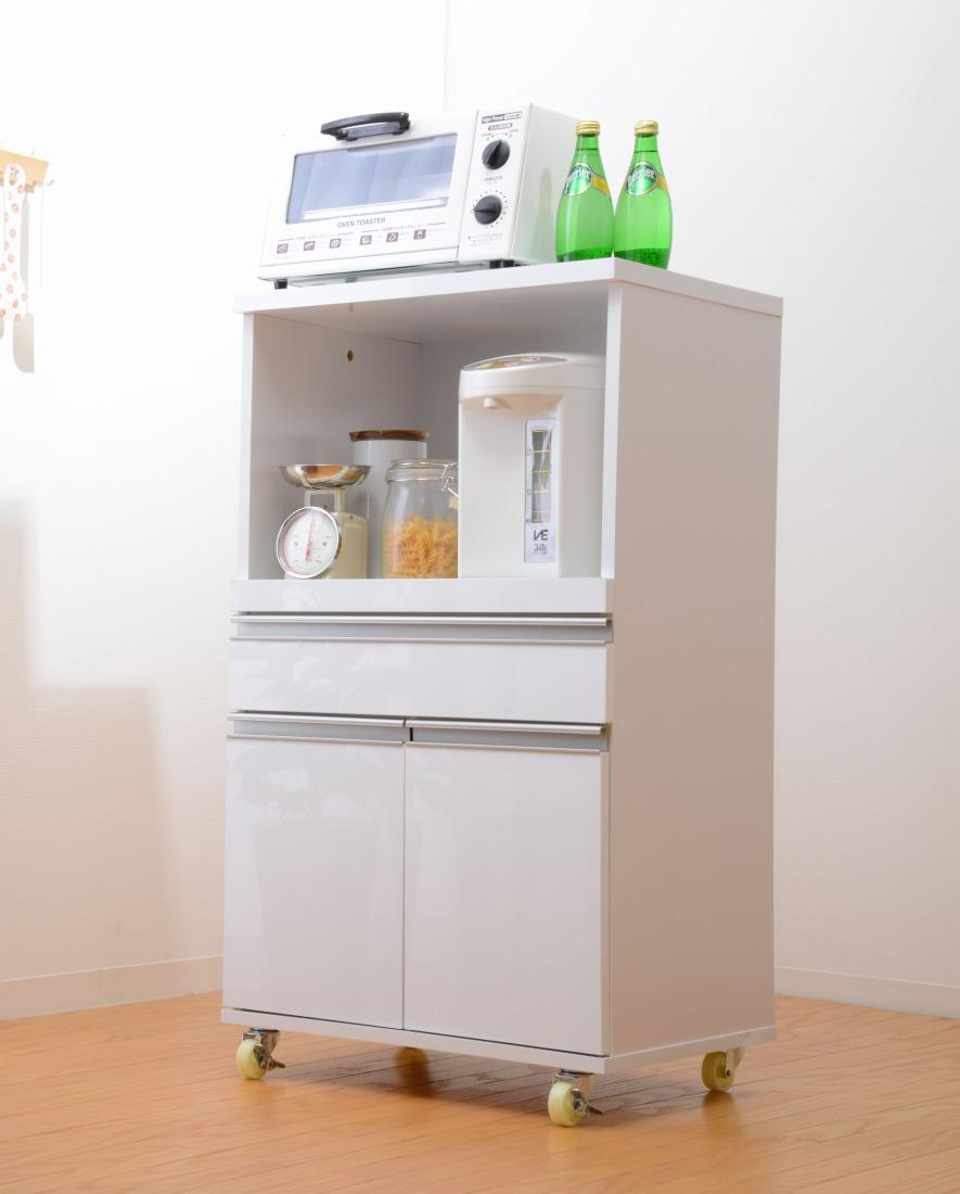 レンジ台 キッチンカウンター 鏡面仕上げ キッチン収納 デリカミニ 54cm幅(代引き不可)