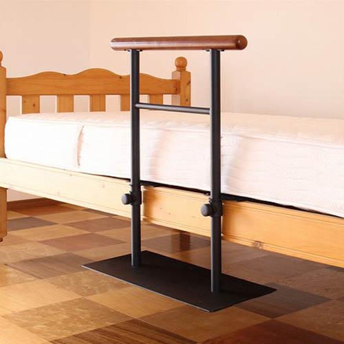 ベッド 立ち上がり 寝具 介護 安定感(代引不可)【送料無料】 手すり 起き上がり 天然木 ベッド用手すり 補助