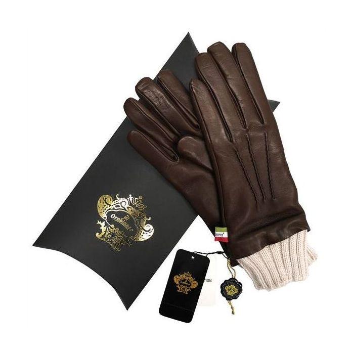 OROBIANCO オロビアンコ レディース手袋 ORL-1454 Leather glove 羊革 ウール DARKBROWN サイズ:7(20cm) プレゼント クリスマス【送料無料】