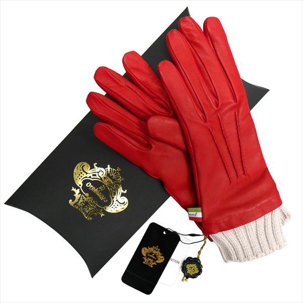 OROBIANCO オロビアンコ レディース手袋 ORL-1454 Leather glove 羊革 ウール RED サイズ:7(20cm) ギフト プレゼント クリスマス【送料無料】