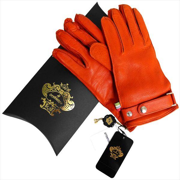 OROBIANCO オロビアンコ メンズ手袋 ORM-1404 Leather glove 羊革 ウール ORANGE サイズ:8.5(24cm) プレゼント クリスマス【送料無料】