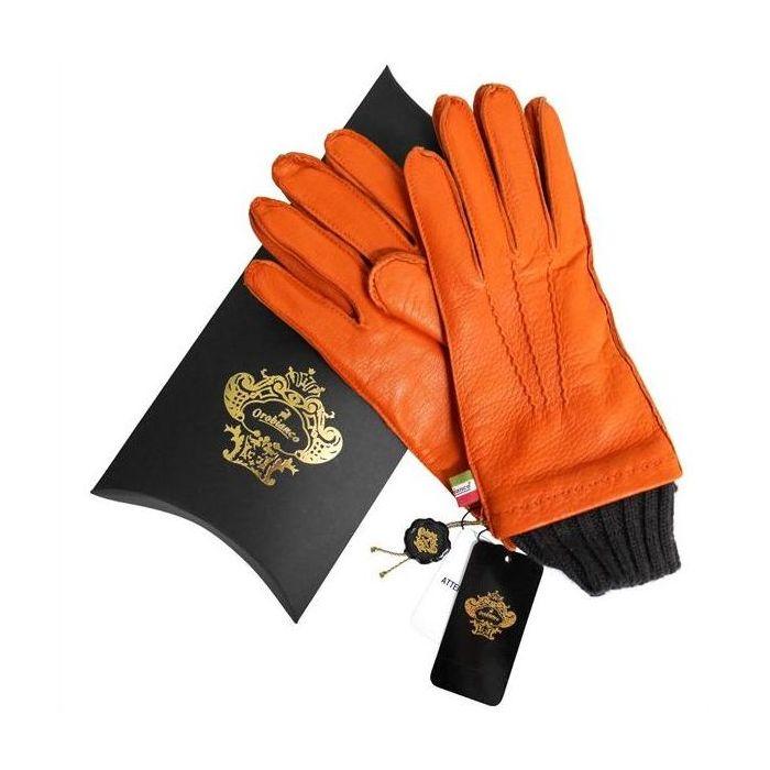 OROBIANCO オロビアンコ メンズ手袋 ORM-1405 Leather glove 羊革 ウール ORANGE サイズ:8.5(24cm) プレゼント クリスマス【送料無料】