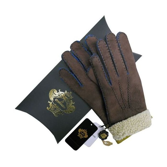OROBIANCO オロビアンコ メンズ手袋 ORM-1410 Leather glove 羊革 DARKBROWN LIME サイズ:8(23cm) ギフト プレゼント クリスマス【送料無料】
