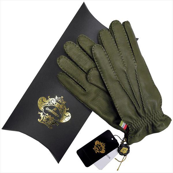 OROBIANCO オロビアンコ メンズ手袋 ORM-1414 Leather glove 鹿革 ウール KHAKI サイズ:8.5(24cm) ギフト プレゼント クリスマス【送料無料】