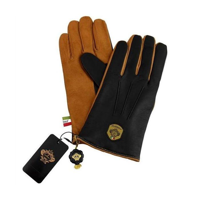 OROBIANCO オロビアンコ メンズ手袋 ORM-1531 Leather glove 羊革 ウール NAVY CAMEL 8.5(24cm) 手袋 プレゼント クリスマス【送料無料】