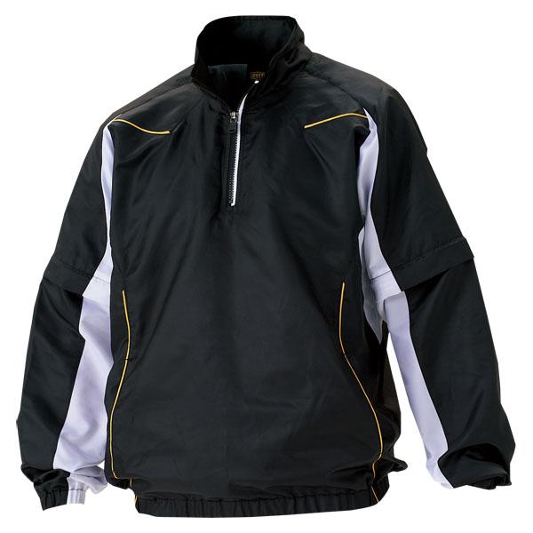 ZETT(ゼット) 野球 長袖/半袖切り替え式ハーフジップジャンパー BOV515 1911 ブラック×ホワイト L