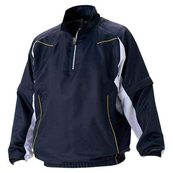 ZETT(ゼット) 野球 長袖/半袖切り替え式ハーフジップジャンパー BOV515 2911 ネイビー×ホワイト 2XO
