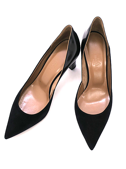 HERMES/エルメス/靴/パンプス/スエード/レザー/シンプル/レディース/サイズ37/送料無料【中古】