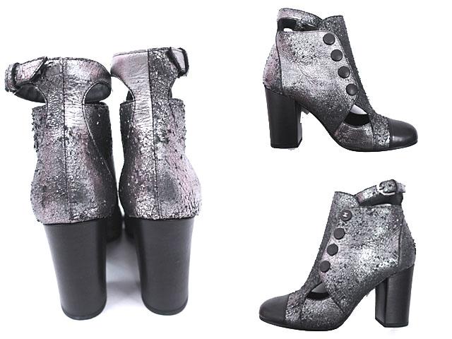 CHANEL シャネル 靴 ショーツブーツ カーフレザー 94305 G28049Y05724 ブラックシルバー ココマーク CC レディース 36 1 2サイズ 送料無料xdCeBo
