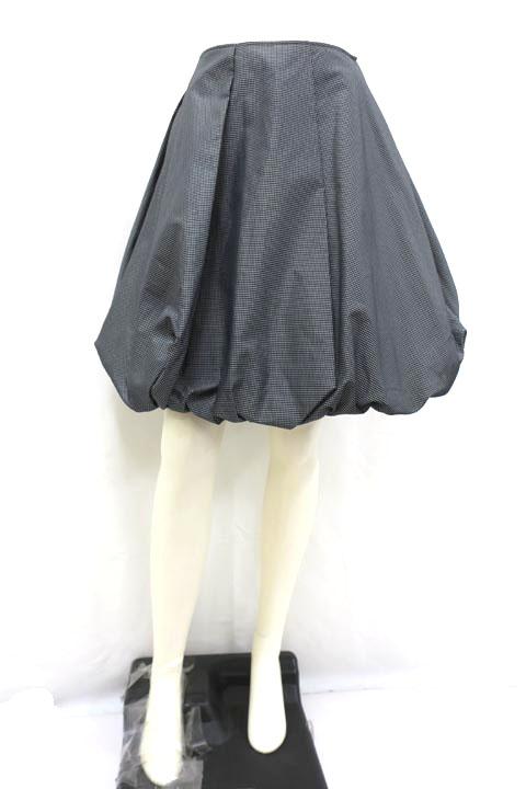 【中古】Rena ルネ スカート レディース ブラック グレー チェック バルーン 34 SSサイズ