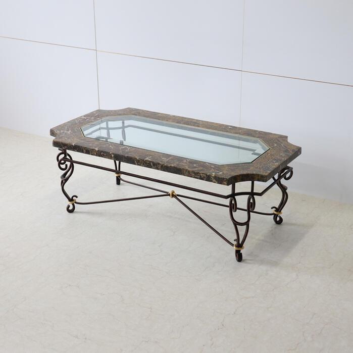 マクタンストーン センターテーブル 幅110アイアン テーブル クラシック アンティーク ダイニング リビング インテリア おしゃれ かわいい 北欧 完成品 送料無料RE157092