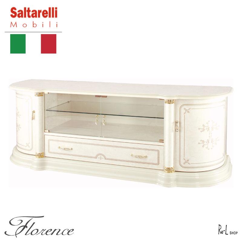 【イタリア製】Florence フローレンスTVボードSaltarelliMobiliサルタレッリモビリSFLI-512-IV【エレガント白家具 クラシック プリンセス ローズ アイボリー 輸入家具】