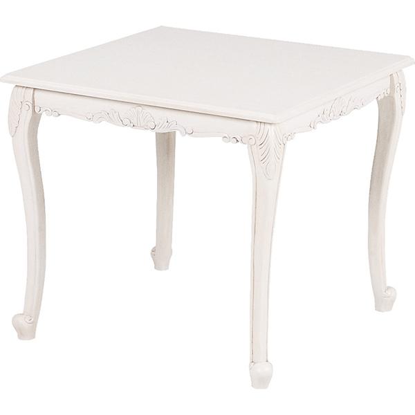 ヴィオレッタシリーズ ダイニングテーブル スクエア 80×80(アンティークホワイト)RKT-1761AW アンティーク風テーブル 木製 姫系【送料無料】