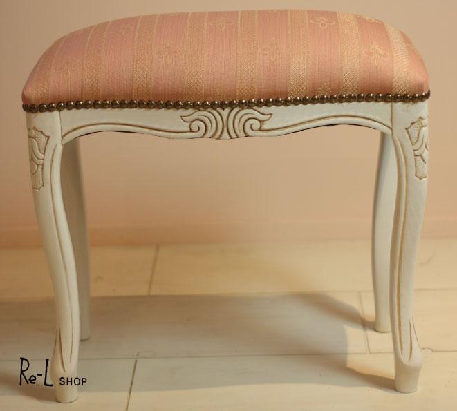 イタリア製家具・エレガントなストライプ柄スツール・ピンクSサイズ51371猫脚 輸入家具 ヨーロピアン家具