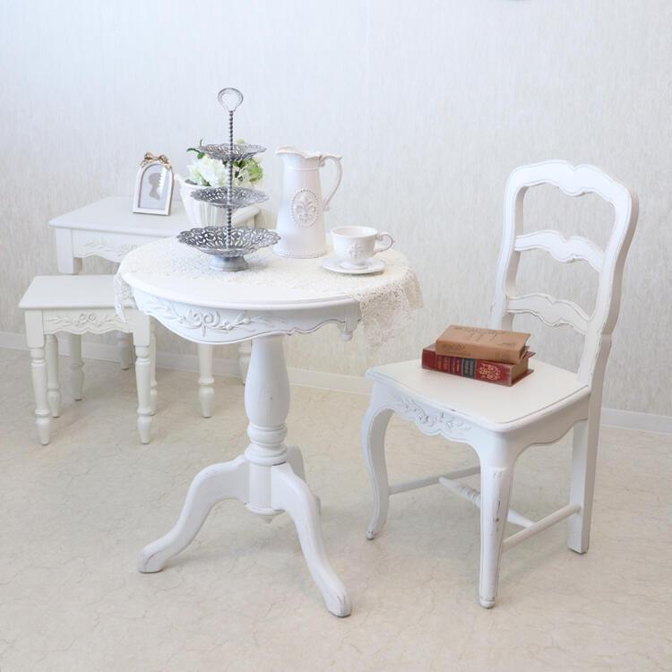 Romance ロマンス ティーテーブルフランス家具 テーブル フレンチ アンティーク コーヒーテーブル おしゃれ かわいい 丸 白 白家具 姫系 北欧 送料無料 クラシック カフェ シャビー ホワイト カントリーコーナー121014